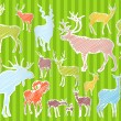 Royalty-Free Stock Vector Image: Colorful hand drawn deer and moose illustration collection background