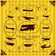 Vector de stock : Vintage airplanes frames and elements illustration collection