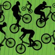Mountain bike trial riders silhouettes illustration collection background — Stock Vector #8075652