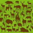 Animals with horns illustration collection background - Stock Vector