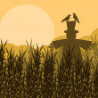 Royalty-Free Stock Vector Image: Scarecrow in corn field autumn countryside landscape background illustratio