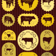 Stock Vector: Beef cattle food labels illustration collection background