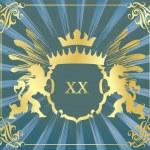 Fondo vector escudo heráldicos leones — Vector de stock