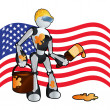 Royalty-Free Stock Vector Image: American construction painter robot background illustration