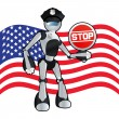 American police officer robot background illustration - Stock Vector