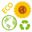 Ecology concept and signs vector background set of eco icons — Stok Vektör