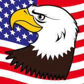 American bald eagle and flag background illustration — ストックベクタ