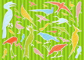 Birds and ecology illustration collection background — Stock Vector