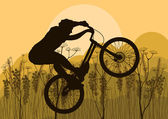 Mountain bike trial rider in wild nature landscape background illustration — Stock Vector