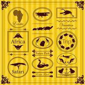 Vintage exotique tropical étiquettes et éléments illustration collection — Vecteur