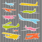 Airplanes colorful illustration background collection — Stock Vector
