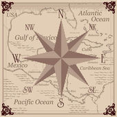 Vintage compass and Caribbean central america map background illustration — Stock Vector