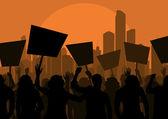 Protesters crowd in skyscraper city landscape background illustration — Stock Vector