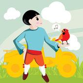 мальчик с красочными скутер и птицы в природе пейзаж фон illustrat — Cтоковый вектор