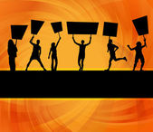 Protesters crowd vector background — Stock Vector