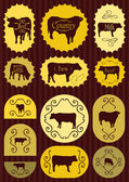 Beef cattle food labels illustration collection background — Stock Vector