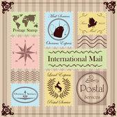ビンテージ郵便切手のイラスト コレクションの背景 — ストックベクタ