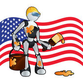 American construction painter robot background illustration — Stock Vector