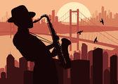 Saxofonist in wolkenkrabber stad landschap achtergrond afbeelding — Stockvector