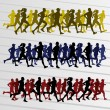 Marathon runners silhouettes illustration vector — Vector de stock