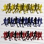 Marathon runners silhouettes illustration vector — Stock Vector