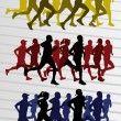 Marathon runners silhouettes illustration vector — Stock Vector #8599848