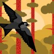 Royalty-Free Stock Imagen vectorial: Bird flying in pine tree forest landscape background illustration vector