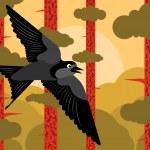 Bird flying in pine tree forest landscape background illustration vector — Stock Vector