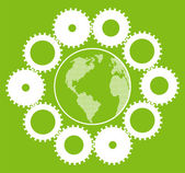 Green eco planet with concept of innovation gears around it vector — Stok Vektör