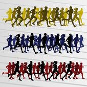 Marathon coureurs silhouettes illustration vectorielle — Vecteur