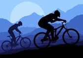 Mountain bike rider in landscape background illustration vector — Stock Vector