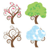 Four seasons - spring, summer, autumn, winter vector tree set background — Stock Vector
