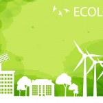 concept de fond vert eco ville écologie vectorielles — Vecteur