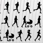 vector maratón corredores siluetas ilustración — Vector de stock  #8600162