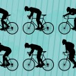 Royalty-Free Stock Vector Image: Sport road bike riders bicycle silhouettes illustration collection