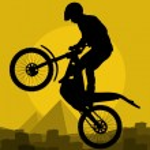 Motorbike rider in wild nature landscape background illustration — Stock Vector