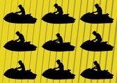 滑雪喷射水体育摩托车剪影图集合 — 图库矢量图片