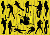 Rock musicians silhouettes illustration collection background vector — Stock Vector