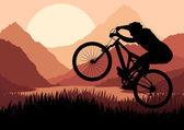 Cavalier de vélo de montagne dans la ville arabe paysage fond illustration vectorielle — Vecteur