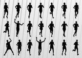 Marathon löpare silhuetter illustration vektor — Stockvektor