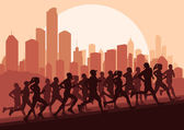 Marathon runners vector background — Stock Vector
