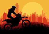 Motocyklem jeździec wieżowiec miasta krajobraz tła ilustracji — Wektor stockowy