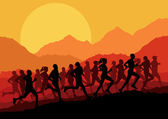Marathon runners vector background — Stock Vector