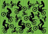 Motocross motorbikes illustration collection background — Stock Vector