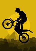摩托车车手在野生自然风景背景图 — 图库矢量图片