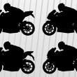 Sport motorbike riders and motorcycles silhouettes illustration collection  — Stock Vector