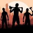 Bandits and criminals silhouettes in skyscraper city landscape background i — Stock Vector