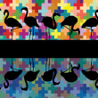 Colorful mosaic and flamingo birds silhouettes reflection illustration back — Stock Vector