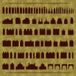 Royalty-Free Stock Vector Image: Vintage old city buildings, churches, towers, castles and gates illustratio