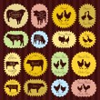 Farm animals market egg and meat labels food illustration collection backgr - Image vectorielle